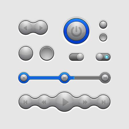 player controls: Inteligente interfaz de usuario Controles Elementos Web 2 botones, conmutadores, On, Off, jugador, audio, v�deo, Volumen, ecualizador, Bulb, Preloader, palas cargadoras, bot�n de encendido, play, stop