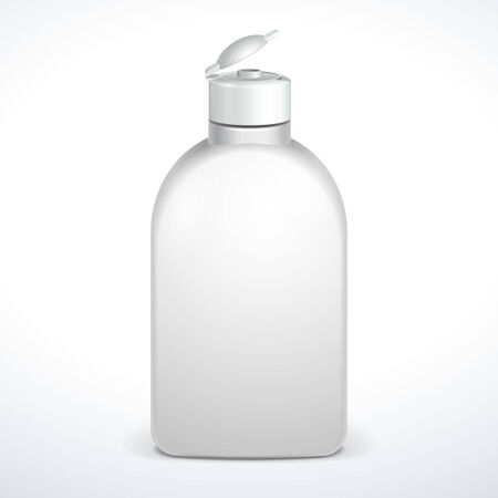 medical shower: Opened Cosmetic Or Hygiene Grayscale White Plastic Bottle Of Gel, Liquid Soap, Lotion, Cream, Shampoo  Ready For Your Design  Illustration Isolated On White Background  Vector EPS10