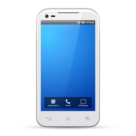 흰색 스마트 폰 템플릿 디스플레이 화면 해상도 480X800 일러스트