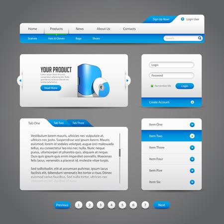 Contrôles interface Web Elements gris et bleu sur fond noir barre de navigation, boutons, Slider, Message Box, Loader, la pagination, Menu, Accordéon, onglets, formulaire de connexion, Recherche Banque d'images - 30165602