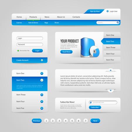 Web UI Controls Elements Gray And Blue 1  Navigation Bar, Buttons, Slider, Message Box, Pagination, Menu, Accordion, Tabs, Login Form, Search, Subscribe, Menu  Vector