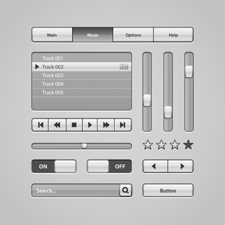 Clean Light User Interface Controls 6  Web Elements  Website, Software UI  Buttons, Switchers, Arrows, Drop-down, Navigation Bar, Menu, Search, Equalizer, Mixer, Levels, Play List, Player, Progress  Vector