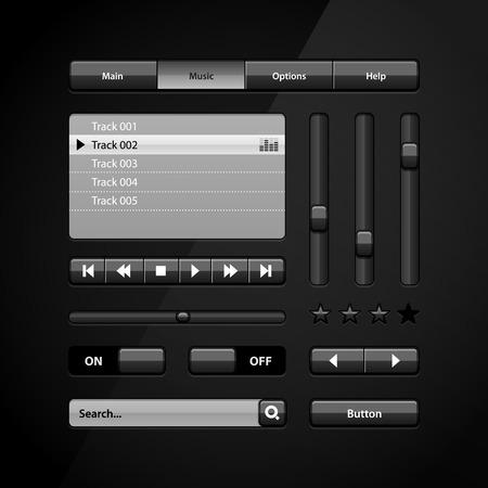 navigation buttons: Clean Dark User Interface Controls 6  Web Elements  Website, Software UI  Buttons, Switchers, Arrows, Drop-down, Navigation Bar, Menu, Search, Equalizer, Mixer, Levels, Play List, Player, Progress  Illustration