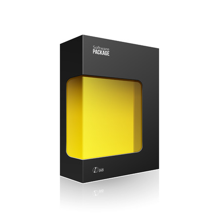 package icon: Black Modern Software Product Package Box With Yellow Window For DVD Or CD Disk