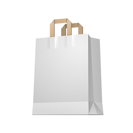 Carrier Paper Shopping Bag White Empty EPS10  Vector