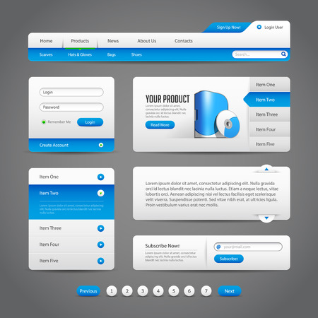 Web UI Controls Elements Gray And Blue On Dark Background 1  Navigation Bar, Buttons, Slider, Message Box, Pagination, Menu, Accordion, Tabs, Login Form, Search, Subscribe, Menu  Illustration