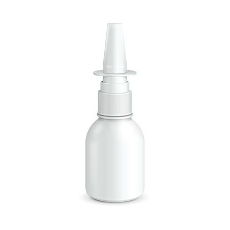 antiseptic: Spray Medical Nasal Antiseptic Drugs Plastic Bottle White  Ready For Your Design  Product Packing Vector EPS10