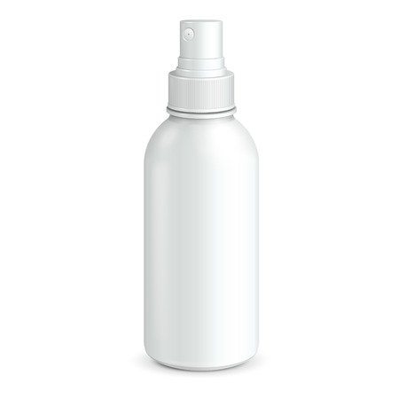 Spray Cosmetic Parfume, Deodorant, Freshener Or Medical Antiseptic Drugs Plastic Bottle White  Ready For Your Design  Product Packing  Vectores