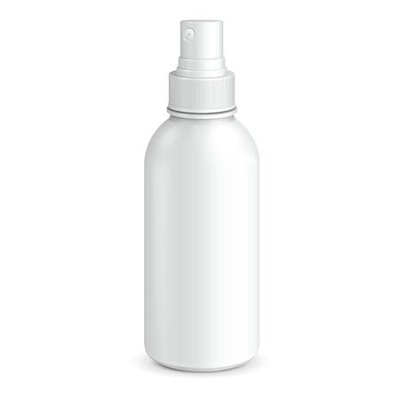 plastic: Spray Cosmetische Parfum, Deodorant, de Verfrissing Of Medical Antiseptic Drugs Plastic fles Wit klaar voor uw ontwerp Verpakking van het product Stock Illustratie