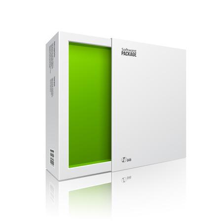 Scatola del pacchetto software bianco moderno aperto Verde interno per DVD, disco CD o altro prodotto Archivio Fotografico - 30166309