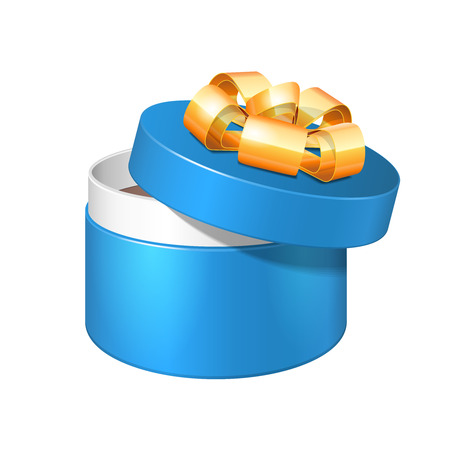 closed ribbon: Opened Blue Round Gift Box With Golden Ribbon Bow