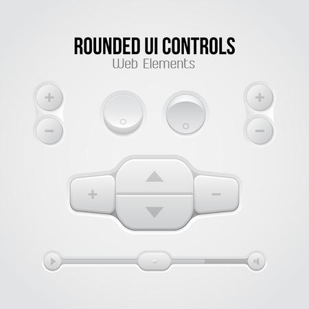 player controls: Redondeado UI Light Controles Web Elements Botones, Selectores, On, Off, Player, Audio, reproductor de v�deo, volumen, ecualizador, Slider, Loader, barra de progreso, de navegaci�n