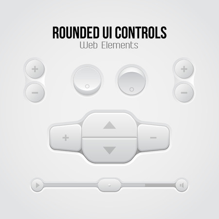 player controls: Rounded Light UI Controls Web Elements  Buttons, Switchers, On, Off, Player, Audio, Video  Player, Volume, Equalizer, Slider, Loader, Progress Bar, Navigation