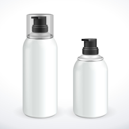Two White Silver Metal Gray Aerosol Spray Metal 3D Bottle Can  Shave Foam, Paint, Graffiti, Deodorant EPS10  Vector
