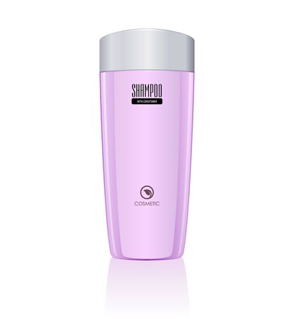 Pink Violet Orange Bottle of Shampoo    Vector