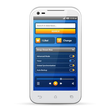 radio button: Semplici elementi UI Blu Giallo Smartphone Bianco 480x800 form di accesso, Button, Switcher, Pulsante Radio, Slider, casella a discesa, Ricerca, Icone Web Design Software Elements Vector Interfaccia utente EPS10 Vettoriali