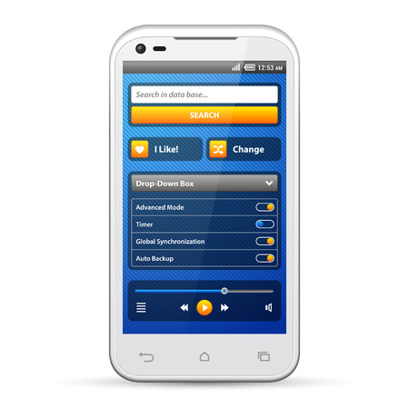 Simple UI Elements Blue Yellow  White Smartphone 480x800  Login Form, Button, Switchers, Radio Button, Slider, Drop-Down Box, Search, Icons  Web Design Elements  Software  Vector User Interface EPS10  Vector