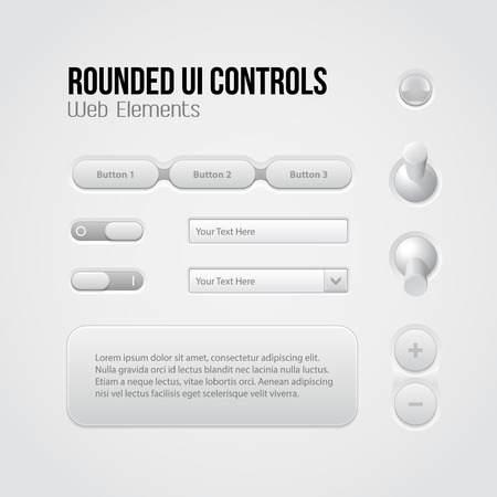 Rounded Light UI Controls Web Elements  Menu, Navigation Bar, Buttons, Switchers, On, Off, Volume, Slider, Message Box, Drop-down, Tooltip, Bulb  Vector