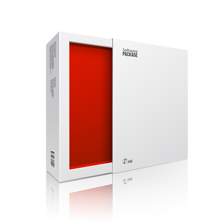 product box: Opened White Modern Software Package Box Red Inside For DVD, CD Disk Or Other Your Product EPS10