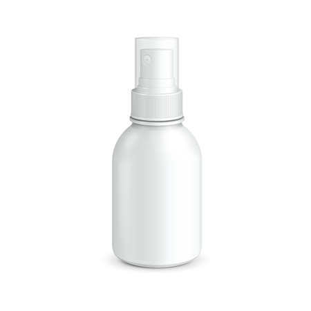 freshener: Spray Cosmetic Parfume, Deodorant, Freshener Or Medical Antiseptic Drugs Plastic Bottle White  Ready For Your Design  Product Packing Vector EPS10  Illustration