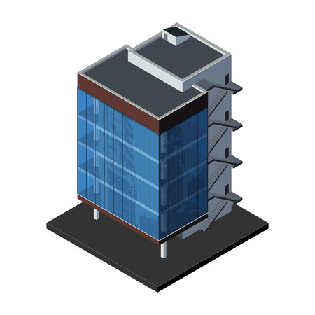 oficina: Business Center Building, oficina, para Bienes raíces Folletos o icono Web isométrico Vector EPS10