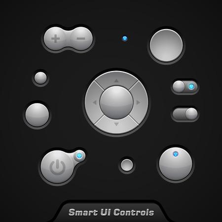 player controls: Inteligente UI Controls Web Elements Botones, conmutadores, On, Off, jugador, audio, reproductor de v�deo, Volumen, ecualizador, Bulb
