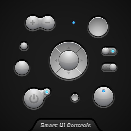 player controls: Smart UI Controls Web Elements  Buttons, Switchers, On, Off, Player, Audio, Video  Player, Volume, Equalizer, Bulb  Illustration
