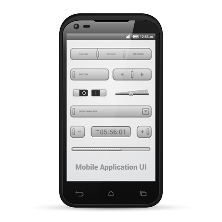 player controls: Light Mobile Application UI Controls Set Gray  Smartphone 480x800  Button, Switchers, Progress Bar, Drop-Down Box, Volume, Clock, Tabs  Web Design Elements  Software  Vector User Interface EPS10