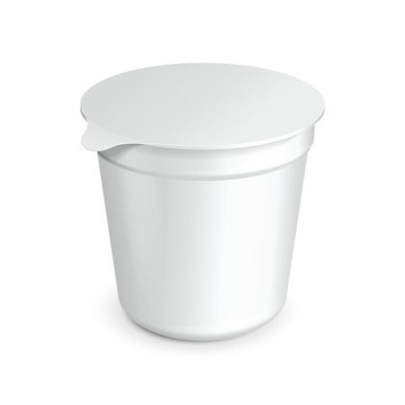 sour: White Cup Tub Food Plastic Container For Dessert, Yogurt, Ice Cream, Sour Sream Or Snack  Ready For Your Design  Product Packing Vector EPS10
