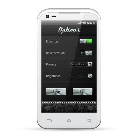 player controls: Interfaz de usuario de aplicaciones m�viles de metal Controla Set Blanco Smartphone 480x800 Audio, Player, opciones, botones, conmutadores, cuadro desplegable, seleccionar, de interfaz de iconos Elementos de dise�o Web Software Vector usuario EPS10