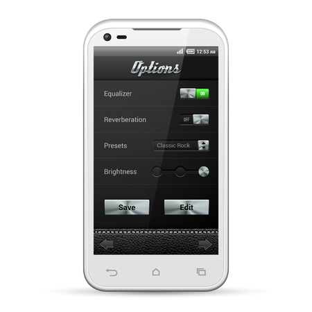 software design: UI Mobile Application Metal Controls Set  White Smartphone 480x800  Audio, Player, Options, Button, Switchers, Drop-Down Box, Select, Icons  Web Design Elements  Software  Vector User Interface EPS10