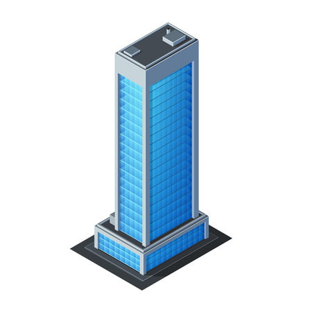 business scene: Skycraper Business Center Building, Office, For Real Estate Brochures Or Web Icon  Isometric Vector EPS10