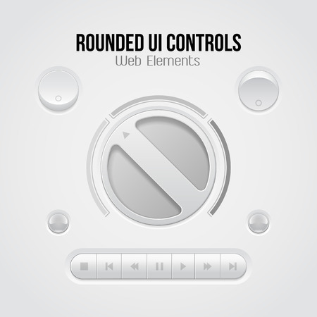 player controls: Light UI Controls Web Elements  Knob, Buttons, Switchers, On, Off, Player, Audio, Video  Play, Stop, Next, Pause, Volume, Equalizer, Bulb, Amplifier   Illustration