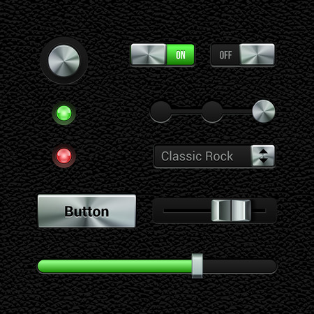 player controls: UI Application Metal Software Controls Set  Volume, Equalizer, Volume Knob Chrome  Leather  Metal Switch, Button, Lamp, Progress Bar, Select Box  Web Design Elements  Vector User Interface EPS10  Illustration