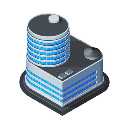 office building: Business Center Building, Office, For Real Estate Brochures Or Web Icon  Isometric Vector EPS10  Illustration