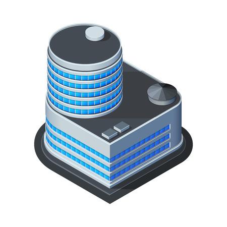 Business Center Building, oficina, para Bienes raíces Folletos o icono Web isométrico Vector EPS10