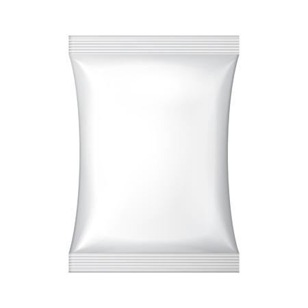 tentempi�: Blanco en blanco Snack-Foil de Alimentos Bolsita Bolsa Cuelgue Slot Packaging para el caf�, sal, az�car, pimienta, especias, sobre, dulces, papas fritas, galletas o dulces de pl�stico Paquete de plantillas listo para su dise�o Vector EPS10 Vectores
