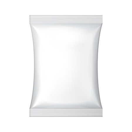 White Blank Foil Food Snack Sachet Bag Hang Slot Packaging For Coffee, Salt, Sugar, Pepper, Spices, Sachet, Sweets, Chips, Cookies Or Candy  Plastic Pack Template Ready For Your Design  Vector EPS10  Vector
