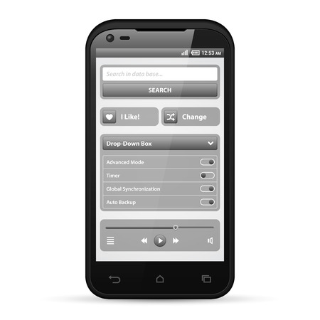 search bar: Simple UI Elements Grayscale  White Smartphone 480x800  Audio, Player, Button, Switchers, Progress Bar, Drop-Down Box, Search, Icons  Web Design Elements  Software  Vector User Interface EPS10