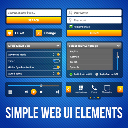 interface elements: Simple UI Elements Blue Yellow  White Smartphone 480x800  Login Form, Button, Switchers, Radio Button, Slider, Drop-Down Box, Search, Icons  Web Design Elements  Software  Vector User Interface EPS10