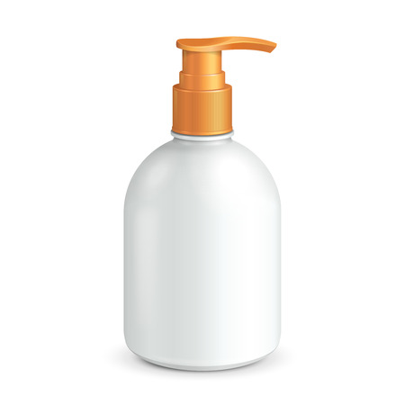 dispenser: Plastic Clean White Bottle With Yellow Dispenser Pump  Shower Gel, Liquid Soap, Lotion, Cream, Shampoo, Bath Foam  Ready For Your Design  Illustration Isolated On White Background  Vector EPS10  Illustration