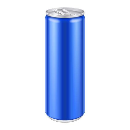 Blue Metal Aluminium boissons boisson peut Prêt pour votre conception de produit d'emballage Vector EPS10