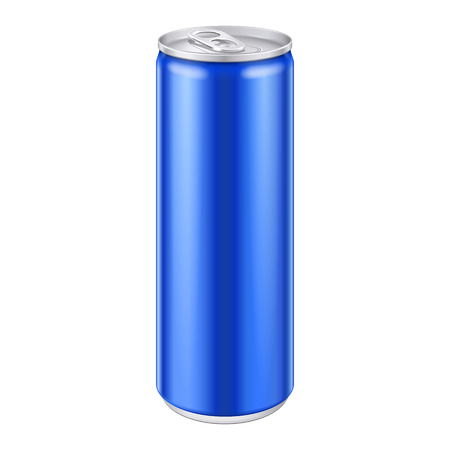 aluminum cans: Blue Metal Aluminum Beverage Drink Can  Ready For Your Design  Product Packing Vector EPS10