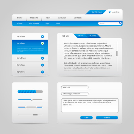 Web UI Controls Elements Gray And Blue On Light Background 4  Navigation Bar, Buttons, Slider, Message Box, Menu, Tabs, Input Text Area, Search, Scroll, Progress Bar, Accordion  Vector