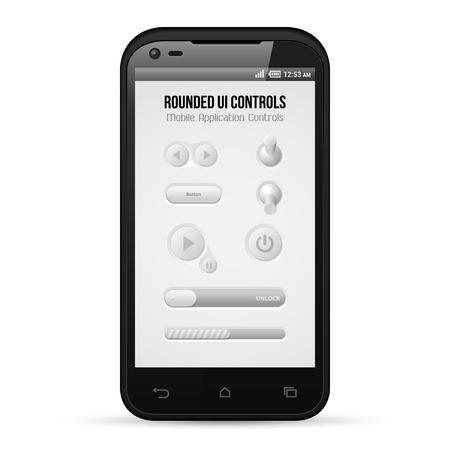 player controls: Redondeado Luz Mobile Application UI Controls Set Gray Smartphone 480x800 Button, conmutadores, Barra de progreso, Unlock, jugador, juego, interfaz Web Design Power Software Elementos Vector usuario EPS10
