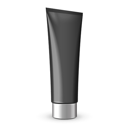 cream tube: Tube Of Cream Or Gel Grayscale Black Clean With Gray Chrome Lid  Ready For Your Design  Product Packing Vector EPS10