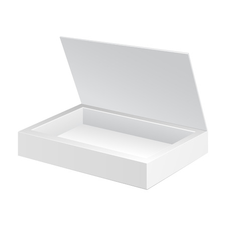 boxes: Opened White Cardboard Package Box  Gift Candy  On White Background Isolated  Ready For Your Design  Product Packing Vector EPS10