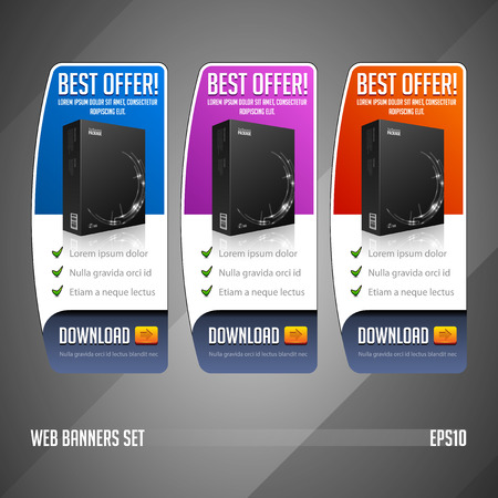violet red: Modern Best Offer Web Banner Set Vector Colored  Blue, Violet, Purple, Red  Website Showing Product Box, Purchase Download Button