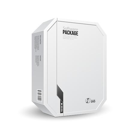 Octagon Modern Wit Software Package Box Met DVD of CD-schijf voor uw product Vector EPS10 Stock Illustratie