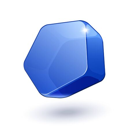 Pentagon Shiny Glass Bubble Banner Blue EPS10  Vector